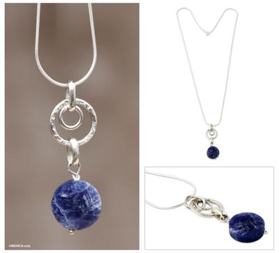 Sodalite pendant necklace, 'Andean Tambourine' - Sodalite and Silver Pendant Necklace