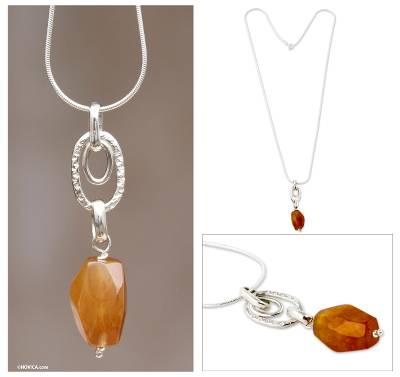 Agate pendant necklace, 'Sunset Glow' - Artisan Made Orange Agate Pendant Necklace