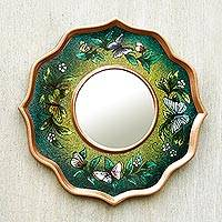 Reverse painted glass mirror, 'Turquoise Butterfly Sky' - Blue and Green Reverse Painted Glass Butterfly Mirror