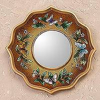Reverse painted glass wall mirror, 'Mocha Butterfly Sky'