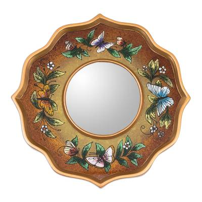Reverse painted glass wall mirror, 'Mocha Butterfly Sky' - Reverse Painted Glass Brown Butterflies Wall Mirror
