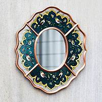 Reverse painted glass mirror, 'Turquoise Chorus' - Peruvian Reverse Painted Glass Wall Mirror