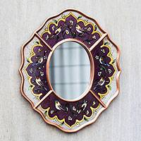 Reverse painted glass mirror, 'Purple Chorus' - Peruvian Reverse Painted Glass Wall Mirror