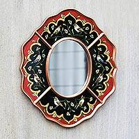 Reverse painted glass mirror, 'Bird Chorus' - Peruvian Reverse Painted Glass Red and Black Wall Mirror