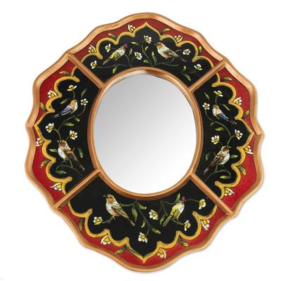 Reverse painted glass mirror, 'Bird Chorus' - Peruvian Reverse Painted Glass Red and Black Wall Mirror