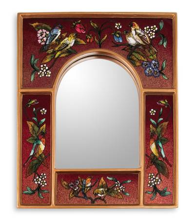 Reverse painted glass mirror, 'Songbirds on Ruby' - Red Reverse Painted Glass Wall Mirror with Birds