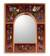 Reverse painted glass mirror, 'Songbirds on Ruby' - Red Reverse Painted Glass Wall Mirror with Birds thumbail
