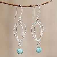 Amazonite dangle earrings, 'Celestial Blue' - Handmade Andean Silver and Amazonite Earrings