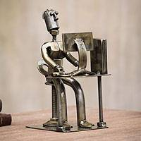 Auto part sculpture, 'Office Guy' - Recycled Car Part Sculpture from Peru