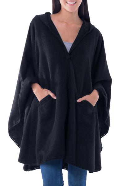 Alpaca blend hooded ruana cape, 'Glamorous Night' - Andean Alpaca Blend Ruana Cape with Hood