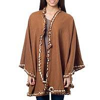 Alpaca blend cape, 'Andean Snow Princess in Cinnamon' - Peruvian Brown Alpaca Blend Ruana Cape with White Trim