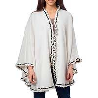 Alpaca blend cape, 'Andean Snow Princess in White' - White Alpaca Blend Ruana Cape with Black Trim