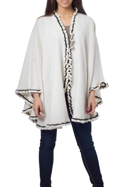 Alpaca blend cape, 'Andean Snow Princess in White' - White Alpaca Blend Ruana Cape with Black Trim