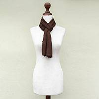 100% alpaca scarf, 'Walnut Harvest' - Genuine Alpaca Scarf from Peru