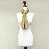 100% alpaca scarf, 'Lemon Harvest' - Genuine Baby Alpaca Scarf from Peru