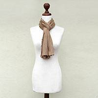 100% alpaca scarf, 'Barley Harvest' - Fair Trade Baby Alpaca Scarf from Peru