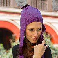 100% alpaca hat with scarf, 'Cozy Purple' - Chullo Hat with Scarf 2-in-1 Alpaca Knit from Peru