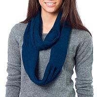 100% alpaca infinity scarf, 'Endless Blue'