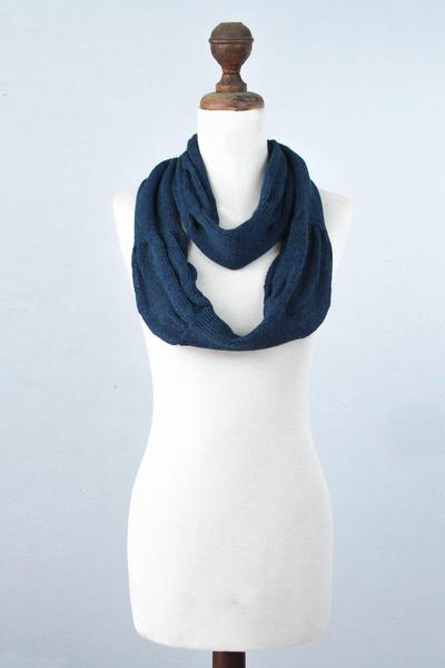 100% alpaca infinity scarf, 'Endless Blue' - Alpaca Knit Infinity Scarf from Peru