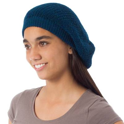 100% alpaca beanie hat, 'Endless Blue' - Alpaca Knit Beanie Hat from Peru