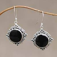 Obsidian dangle earrings, 'Chavin Princess' - Artisan Crafted Obsidian and Silver Earrings
