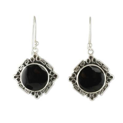 Artisan Crafted Obsidian and Silver Earrings