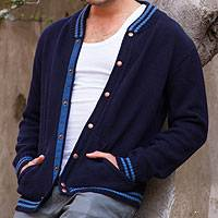 Men's alpaca and wool sweater jacket, 'Varsity Blues' - Andes Men's Navy Blue Alpaca Blend Sweater Jacket
