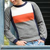 Men's 100% alpaca sweater, 'Gray Color Block' - Men's grey White Orange Alpaca Wool Sweater