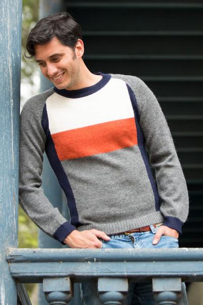 Men's 100% alpaca sweater, 'Gray Color Block' - Men's grey White Orange Alpaca Wool Sweater