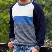 Men's 100% alpaca sweater, 'Marine Color Block' - Men's Blue White grey Alpaca Wool Sweater