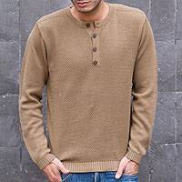Men's cotton henley sweater, 'Paracas Desert' - Andes Men's Light Brown Pima Cotton Pullover Sweater