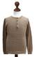 Men's cotton henley sweater, 'Paracas Desert' - Andes Men's Light Brown Pima Cotton Pullover Sweater (image 2c) thumbail