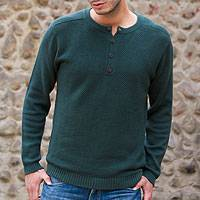 Men's cotton henley sweater, 'Deep Forest'