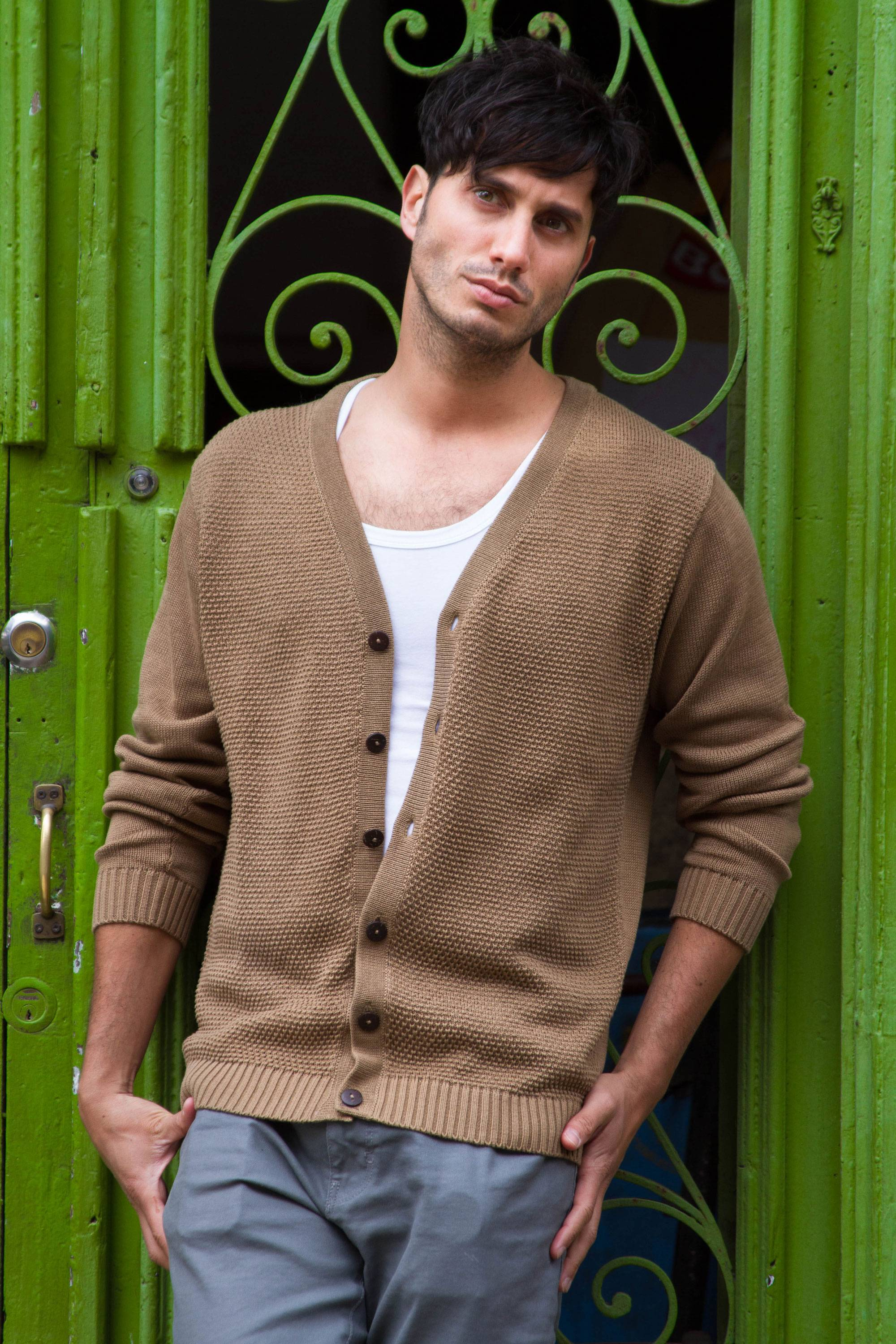 Andes Men's Light Prown Pima Cotton Cardigan Sweater - Desert Sand ...
