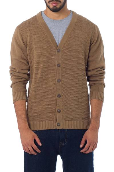 Men's cotton cardigan sweater, 'Desert Sand' - Andes Men's Light Prown Pima Cotton Cardigan Sweater