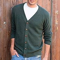 Men's cotton cardigan sweater, 'Forest Fern' - Andes Men's Green Cotton Cardigan Sweater