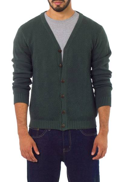 Men's cotton cardigan sweater, 'Villa Nueva' - Andes Men's Green Cotton Cardigan Sweater