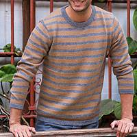 Men's 100% alpaca sweater, 'Horizons' - Men's grey and Tan Alpaca Wool Sweater