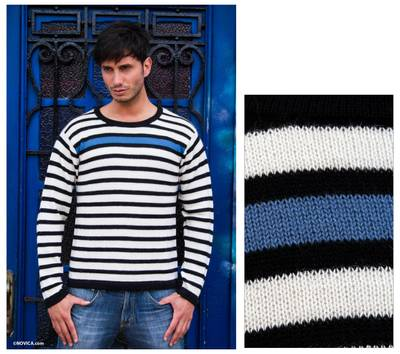 Men's 100% alpaca sweater, 'Blue Spark' - Men's Blue Accent Alpaca Wool Sweater