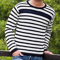 Men's 100% alpaca sweater, 'Navy Spark'