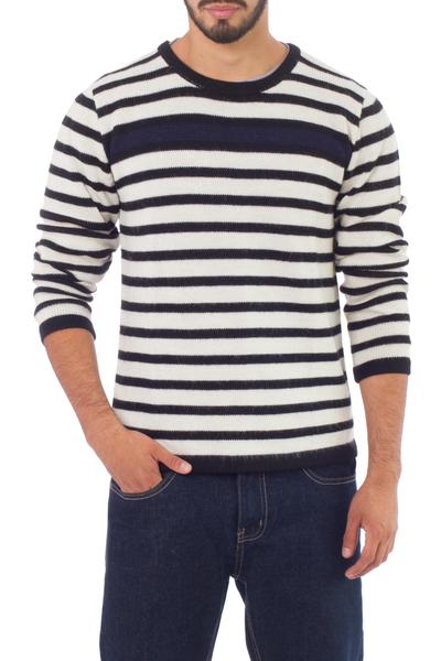 Men's 100% alpaca sweater, 'Navy Spark' - Men's Navy Bue Accent Alpaca Wool Sweater
