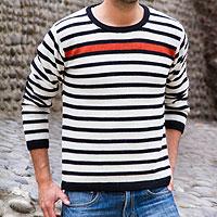 Men's 100% alpaca sweater, 'Ginger Spark' - Men's Orange Accent Alpaca Wool Sweater