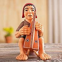 Ceramic figurine, 'Andean Harpist' - Artisan Crafted Ceramic Figurine of an Andean Harpist