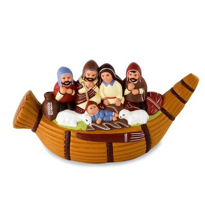 Ceramic nativity scene, 'Christmas in a Reed Canoe' - Artisan Crafted Ceramic Christmas Nativity Scene