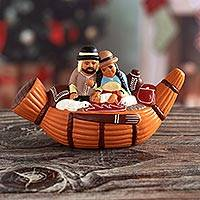 Ceramic nativity scene, 'Bethlehem in a Reed Boat' - Artisan Crafted Ceramic Christmas Figurine