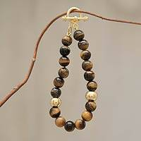 Gold vermeil tiger's eye beaded bracelet, 'Golden Earth'
