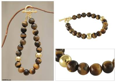 Gold vermeil tiger's eye beaded bracelet, 'Golden Earth' - Handmade Gold Vermeil Tiger's Eye Bracelet