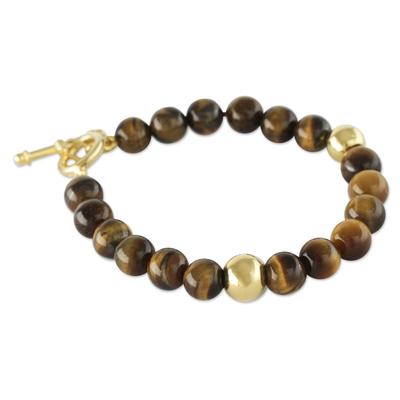 Gold vermeil tiger's eye beaded bracelet, 'Golden Earth' - Handmade Gold Vermeil Tiger's Eye Bracelet