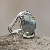 Labradorite single stone ring, 'Reflections' - Labradorite Single Stone Ring