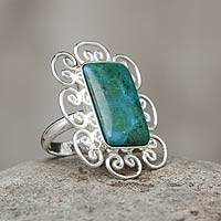 Chrysocolla cocktail ring, 'Andean Purity' - Artisan Crafted Chrysocolla and Sterling Silver Ring